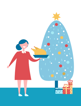 Christmas Tree with Presents and Woman with Dish Illustration