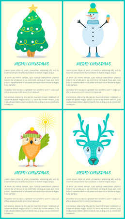 Merry Christmas Tree Snowman Owl Deer Posters Set Illustration