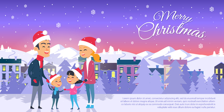 Postcard with Merry Christmas on City Background Stock Illustratie
