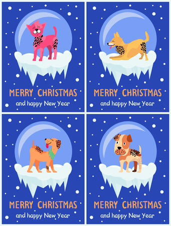 Merry Christmas and Happy New Year Festive Posters Illustration