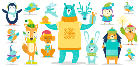 Deer and dog, penguin and hedgehog, bear and birds, and other animals wearing warm clothes, icons on vector illustration isolated on white background