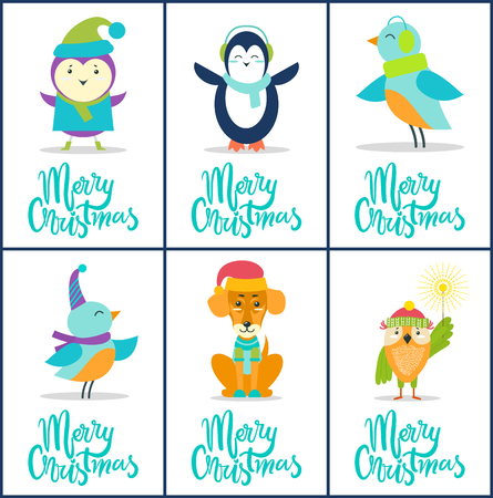 Merry Christmas, images collection of birds in warm clothes, penguin with scarf, dog with hat, owl with Bengal light isolated on vector illustration