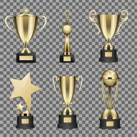 Concept of Six Golden Trophy Cups for Champion Stock Illustratie