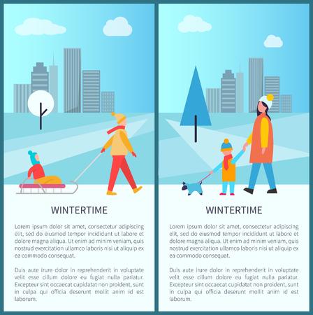 Wintertime City Activities Vector Illustration Illusztráció