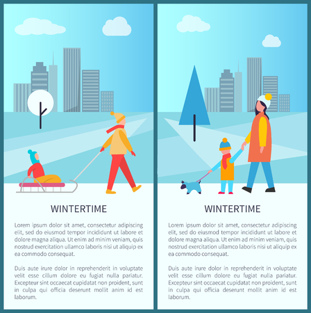Wintertime City Activities Vector Illustration Standard-Bild - 97388396
