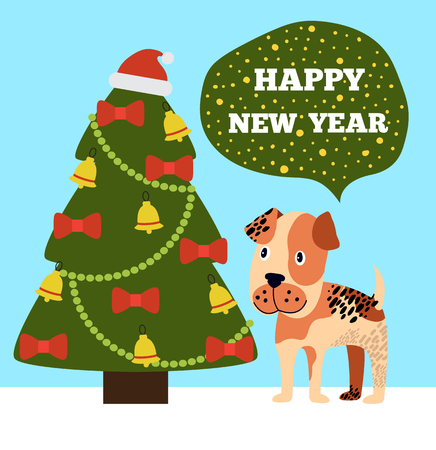 Happy New Year congratulations from cartoon pink spotted dog near decorated Christmas tree topped by Santa hat, with garlands, red bows and gold bells Ilustracja
