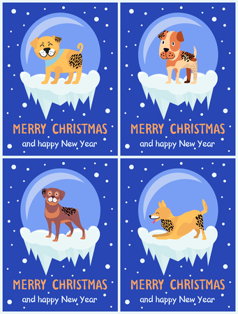 Merry Christmas and Happy New Year festive posters with dogs inside glass bubbles with bottom covered with ice cartoon vector illustrations collection