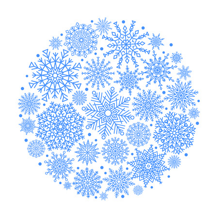 Christmas Ball Created From Blue Snowflakes Icon