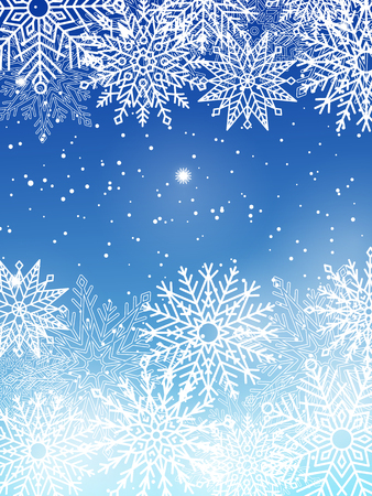 Background with White Snowflakes Isolated on Blue Çizim