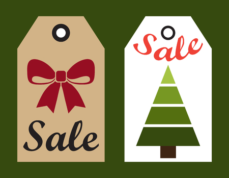 Sale New Year labels set with hole to hang on, Christmas tree without decoration and red ribbon isolated on vector illustration in flat style Illustration