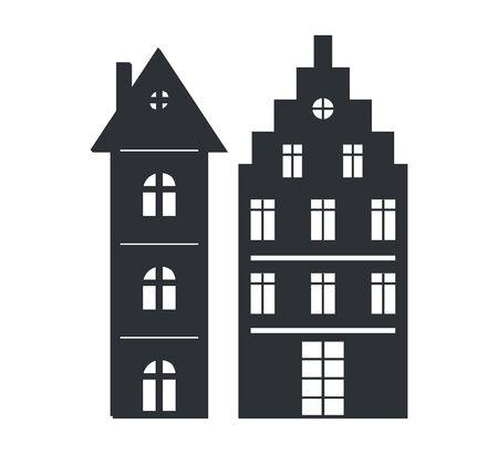 Set Multi Storey Houses Black Silhouettes Isolated Stok Fotoğraf - 97388401
