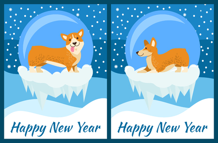 Happy New Year Greeting Cards with Cute Corgi Dog Illustration