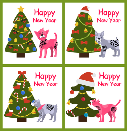 Happy New Year posters set with abstract Christmas trees and cute puppies with spots vector illustration greeting cards isolated on white background Illustration