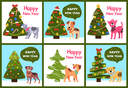 Happy New Year greetings from cartoon dogs standing near decorated xmas trees vextor illustration posters set isolated on white background