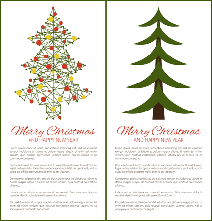 Merry Christmas Happy New Year Posters with Tree