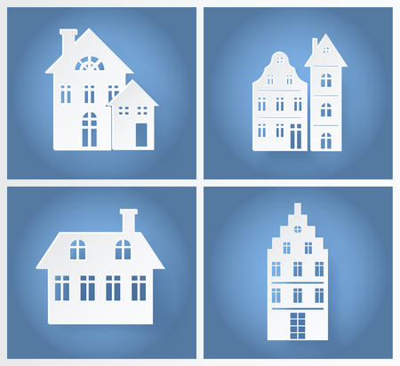 Paper Buildings Silhouettes Vector Illustration Illustration