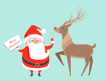 Santa Claus with Reindeer Icon Vector Illustration Illustration