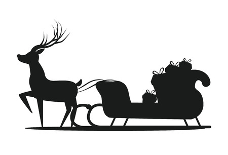 Santa Claus Sledge Silhouette Vector Illustration