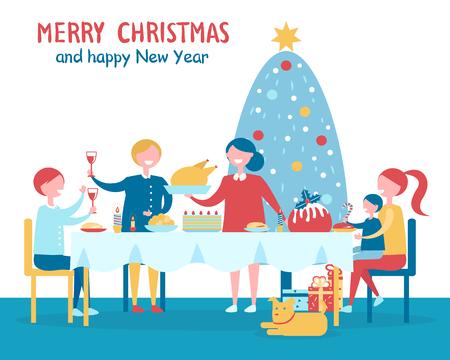 Merry Christmas Familys Dinner Vector Illustration