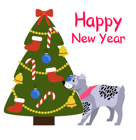 Happy New Year banner with grey dog in pink collar standing near decorated Christmas tree with red socks, golden garlands, sweet candy sticks vector