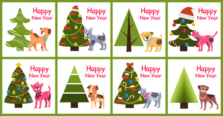Happy New Year posters 2018 set with abstract Christmas trees and cute spotted puppies vector illustration greeting cards isolated on white background