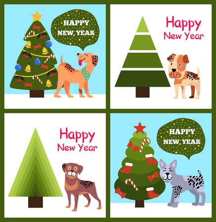 Happy New Year Posters Set Christmas Trees Puppies Stock Vector - 97388788
