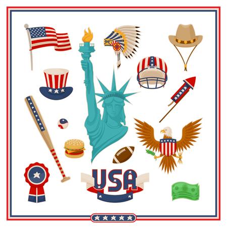 USA Country Symbols Isolated Illustrations Set