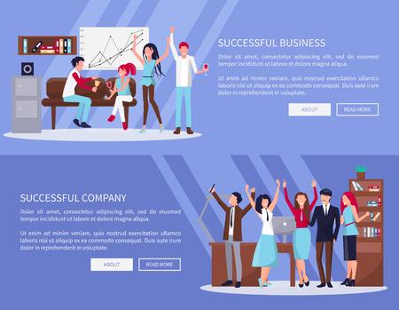 Successful Business Company Vector Illustration Çizim