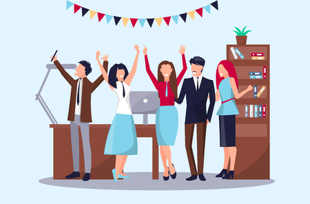 Happy people celebrating their success in office workplace including table, computer and drawers, as well as flags vector illustration Illustration