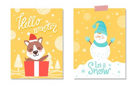 Hello winter and let it snow, designed card, images of dog in box that is present and snowman wearing gloves and hat isolated on vector illustration