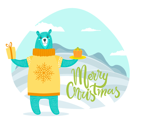 Merry Christmas Greeting Card with Bear in Sweater 向量圖像