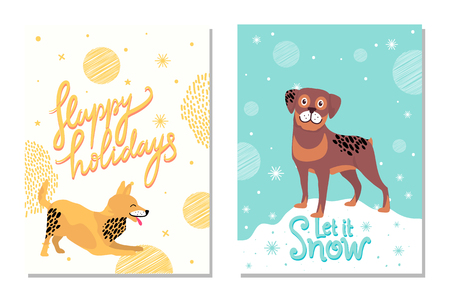 Happy Holidays Let it Snow Postcards with Dogs