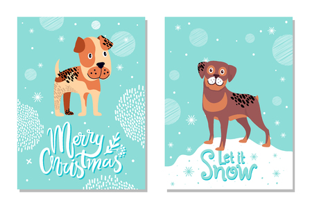Merry Christmas and Let It Snow Cards with Dogs Illustration