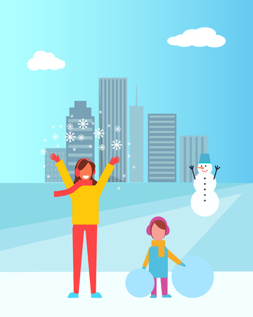 Mother and daughter in winter city having fun together, snowman with carrot nose and city with buildings and clouds vector illustration