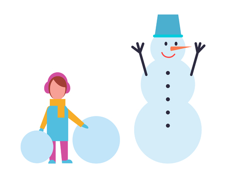 Girl in warm cloth holds two balls of snow and snowman with metal basket on head, smiling winter character with carrot nose, vector isolated on white