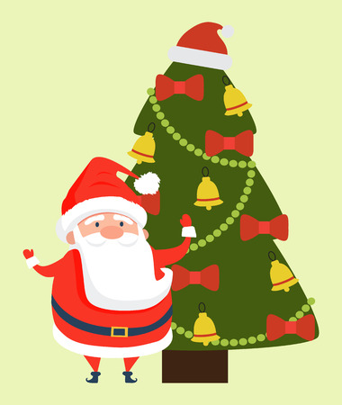 Santa Claus wishing Merry Christmas and Happy New Year with christmas tree 向量圖像