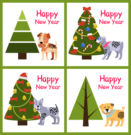 Happy New Year posters set with dog symbol of coming 2018 year and decorated and natural Christmas trees vector illustration greeting cards isolated