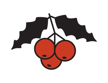 ビッグレッドベリーのクローズアップアイコンミストリート植物  イラスト・ベクター素材