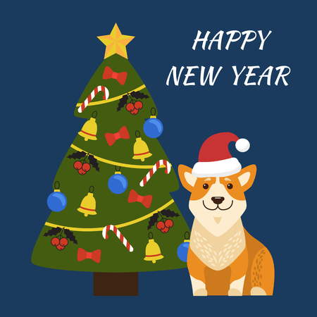 Happy New Year placard, image of dog sitting with Santa Claus hat, tree with star on its top, bell and balls, mistletoe and candies vector illustration