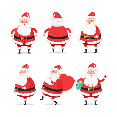 Santa Claus set isolated on white. Showing front, back and side view of Santa on white. Man in red warm coat, trousers, hat and boots with blue present in his arm. Vector in cartoon style design Illustration