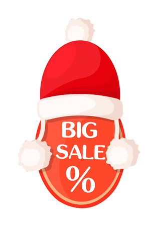 Big sale oval tag with percent sign inside and Santa Claus hat on top isolated. Illustration