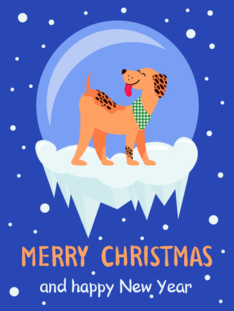 Merry Christmas and Happy New Year 2018 symbol happy dog on dark snowy background. Vector illustration with cute smiling pet in colorful collar