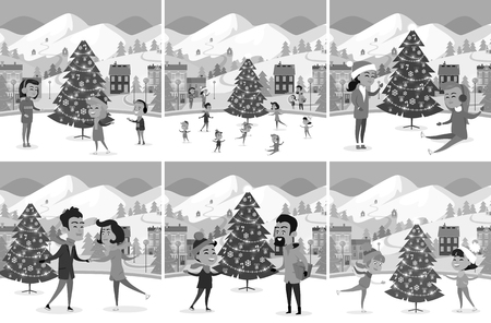 Monochrome Set of Happy People Ice-skating on Rink