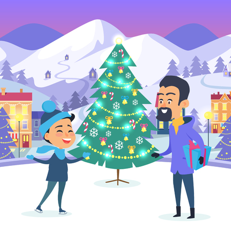 Boy and Man with Present in Hand on Urban Ice rink Illustration