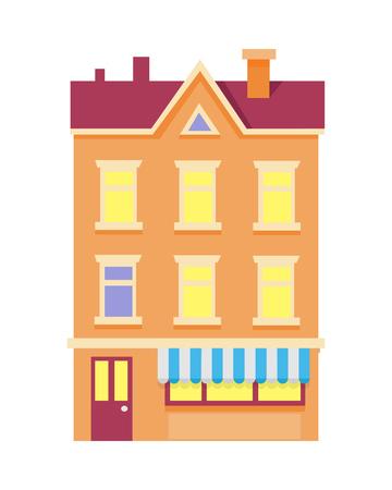 Bâtiment coloré isolé avec cheminées Banque d'images - 98351512