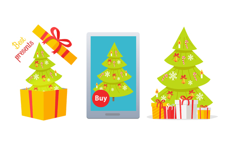 Set of winter holidays presents vector concepts with Christmas tree. Decorated spruce in gift box, on tablet screen and with wrapped gifts flat vector illustrations isolated on white background