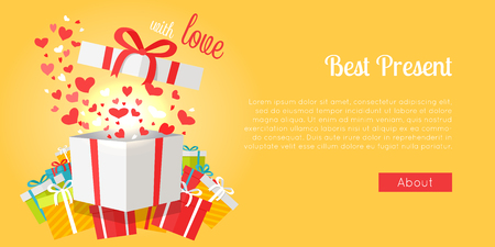 Postcard of best presents with love on yellow background. Vector illustration of colorful boxes with beautiful bows for children s gifts. Illustration