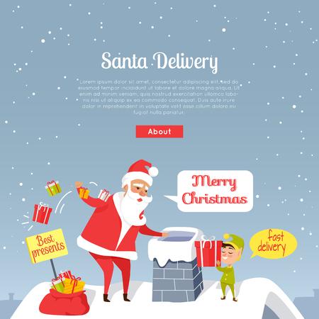 Santa Christmas und schnelle Lieferung der besten Geschenke. Werfende Geschenke Santa Clauss im Kamin. Karikatur Sankt und Zwerg, die auf Dach des Hauses, Gnom steht, gibt Geschenkbox. Feiertagsvektorweb-Fahne. Standard-Bild - 98203420