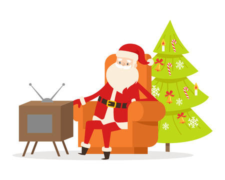 Sitting Santa Claus in orange big armchair near TV set and decorated Christmas tree on white background. Illustration