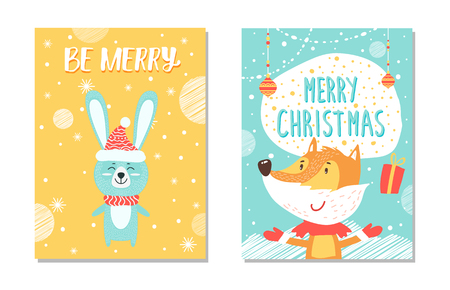 Merry Christmas, collection of banners, images of hare with closed eyes happy to be outside in snowy weather, and fox with gift on vector illustration Illustration